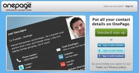Onepage pagina para crear tarjetas de presentacion