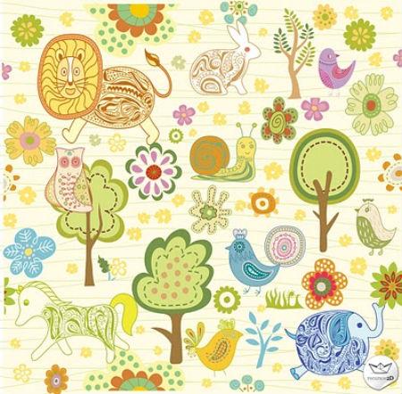 Dibujos infantiles en vector de animales y plantas - Decorar dibujos infantiles ...
