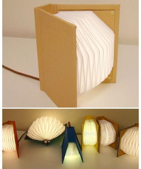 L mpara con forma de libro portafolio blog - Lamparas para leer libros ...