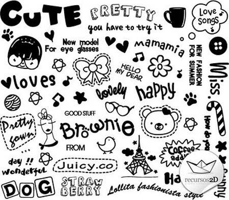 Dibujos de estilo infantil en vector portafolio blog - Letras para serigrafia ...