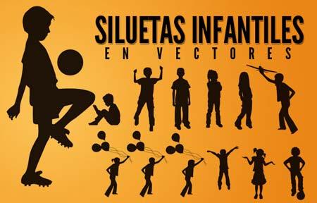 Siluetas de niños en vector | portafolio blog