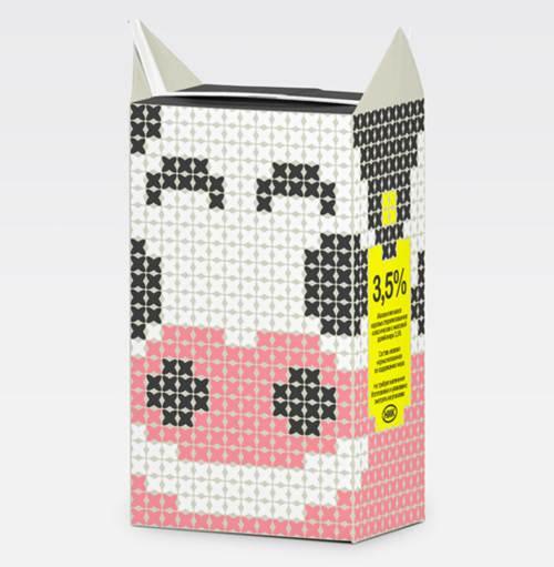 Envase de carton con forma de vaca