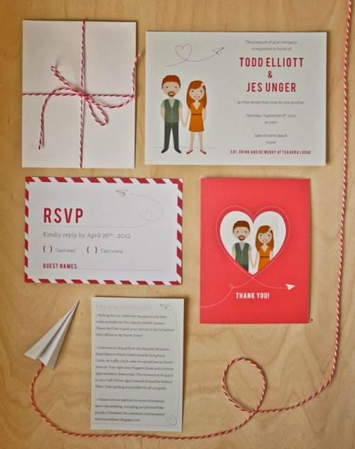 Paquete creativo de invitaciones de boda