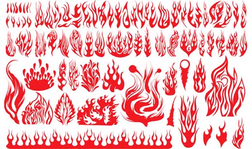 Clásicas siluetas vectorizadas en forma de flamas
