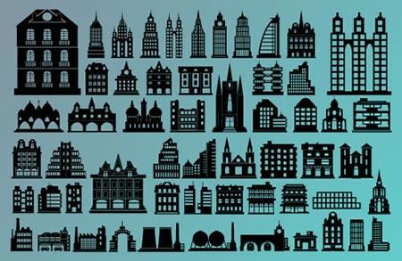 Coleccin de siluetas de edificios en vector  portafolio blog