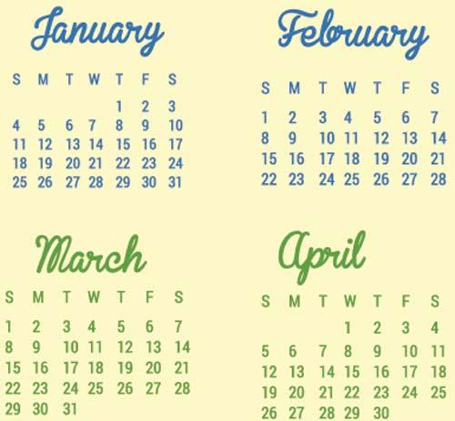Calendarios vectoriales