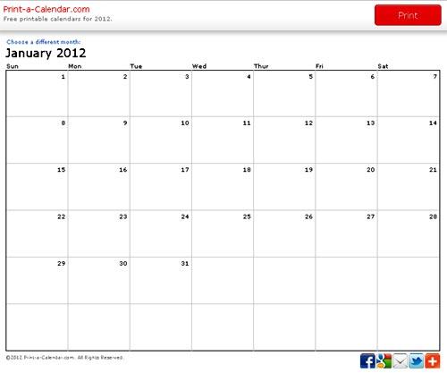 Calendario 2012 Online Para Imprimir Gratis Portafolio Blog
